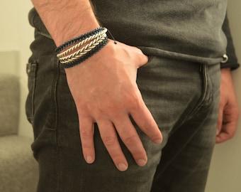 Blue hematite cube shaped beaded bracelet, Adjustable macrame beads bracelet, man/men leather bracelet, arm party, hippiechic bracelet