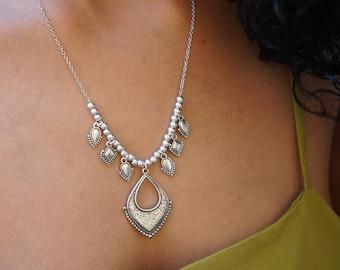 Bohemian Antique Silver Chandelier Rhombus Drop Necklace, Ethnic Rhombus Pendant, Boho Tassel Gypsy Turkish Jewelry, Free People Style, Gift