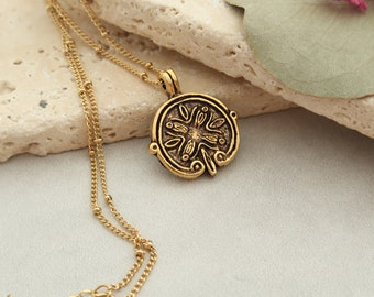 Antique Gold Byzantine Coin Pendant Necklace Jewelry, Greek Coin Layering Medallion, Bohemian Boho Minimalist Jewelry, Birthday Gift for Her