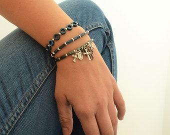 SET of THREE blue/grey hematite bracelets with silver beads & cross charms, Adjustable unisex beaded bracelet, multi strand hippie chic boho