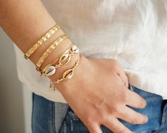Set of 2 summer macrame bracelets wt gold cowrie shells, adjustable shell bracelet, Bohemian Boho Hippie Beach Tropical Cowrie Shell