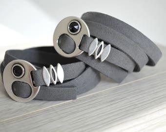 Boho Grey-Black Leather Wrap Swarovski Clasp Bracelet Jewelry, Modern Hippie Style Jewelry, 4 Times Wrap Bracelet, Bohemian Wrap Jewelry
