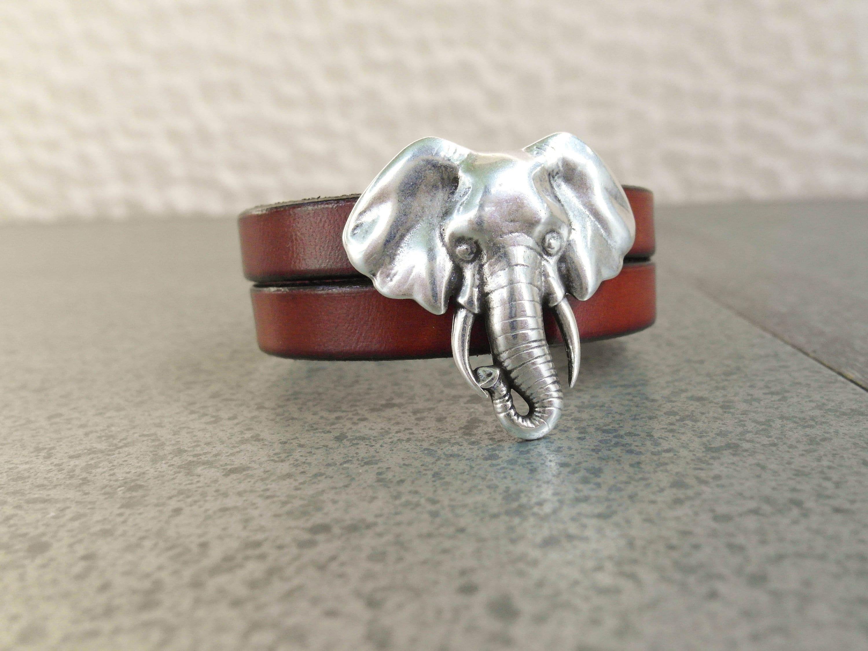 a62f2c8da26aa Large ELEPHANT Leather Cuff Bracelet