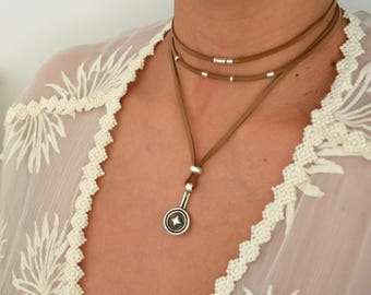 Black/Brown Leather Suede Wrap Choker Necklace, Leather Coin Pendant Necklace, Leather Wrap Choker, Wrap Necklace, Bohemian Silver Jewelry