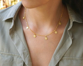Gold Steel Chain Arabic inspired coins Choker Necklace, Thin Chain Choker Dangling Coins, Bohemian Minimalist, Gift for Her