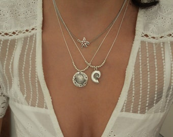 SET of 2 silver shell & starfish necklaces, Multi strand layered silver sea elements necklace, summer necklace, boho chic hippie jewelry