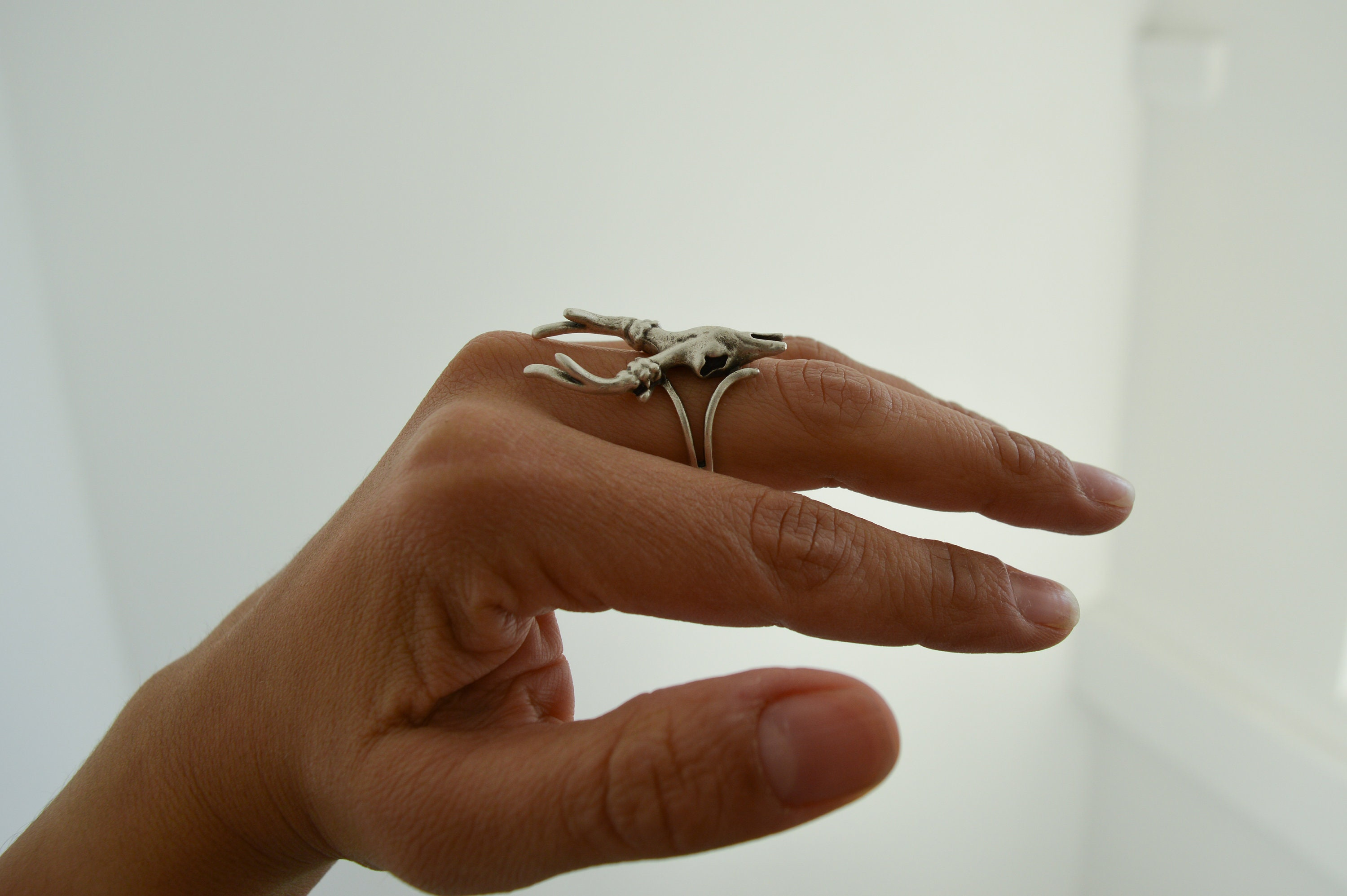 Gift for Her Bohemian Antique Silver DEER SKULL Ring Animal reindeer caribou Ring Silver Adjustable Stackable Ring Long Statement Ring