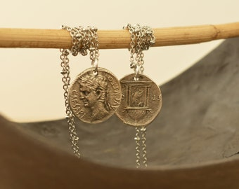 Replica of Augustus Octavian, Roman Coin Necklace, Sterling Silver Coin Charm Jewellery, Medallion Necklace, Tribal Ethnic Layering Jewelry