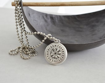 Silver VIKINGS COMPASS Pendant w/t silver ball chain, Gift for Him, Traveller's Inspiration Runes Norse Mythology Jewelry, Strength Amulet