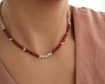 Dark Pink Jade & Light Pink Rhodonite Beaded Silver Necklace,Birthstone Layering Delicate Minimalist Geometric Gemstone Contemporary jewelry
