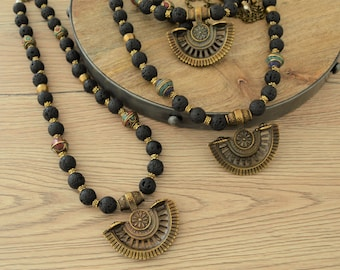 Black lava beaded brass crescent pendant necklace, Brass statement necklace, Free people style necklace, Bohemian Ethnic Indian Jewelry