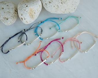 Thick ID Macramé Bracelet, Antique silver connector, geometric, minimalistic, bohemian, boho charm bracelet, minimal jewelry, gift for her