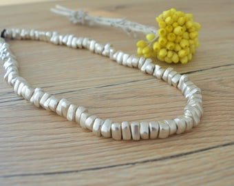 Matte Antique Silver Beaded Choker Necklace, Free Form Bead Spacers Choker, Boho Bohemian Delicate Contemporary Classy Preppy Jewelry