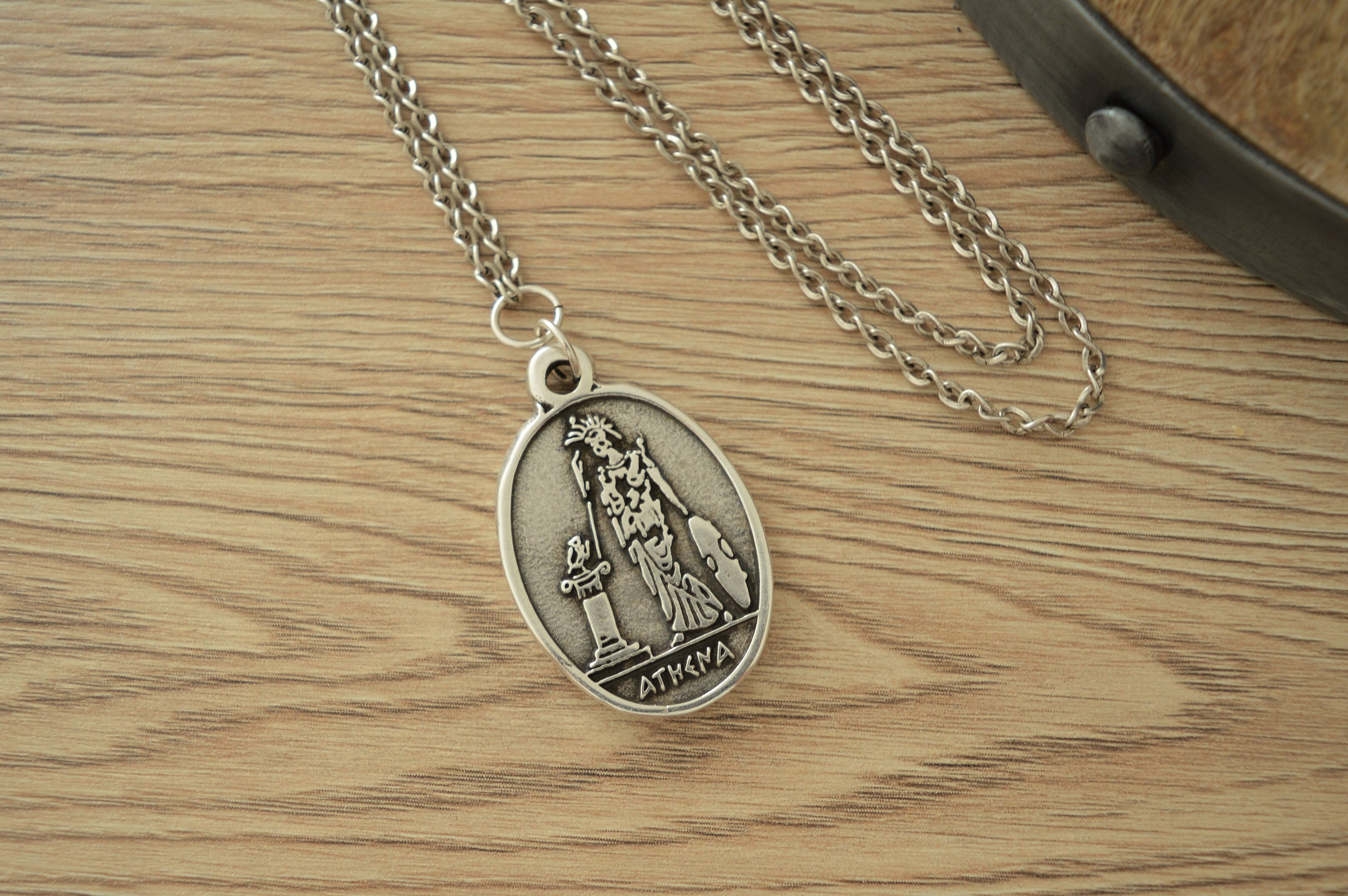 Replique Of Athena Goddess Coin Pendant Necklace Jewellery Grecian