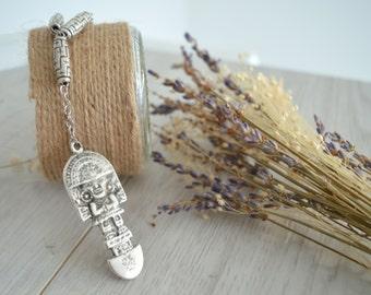 Inca Totem God Pendant Necklace, Inca Peruvian Jewelry, Ethnic Tribal Necklace, Large Pendant Amulet Necklace, Handmade Jewelry