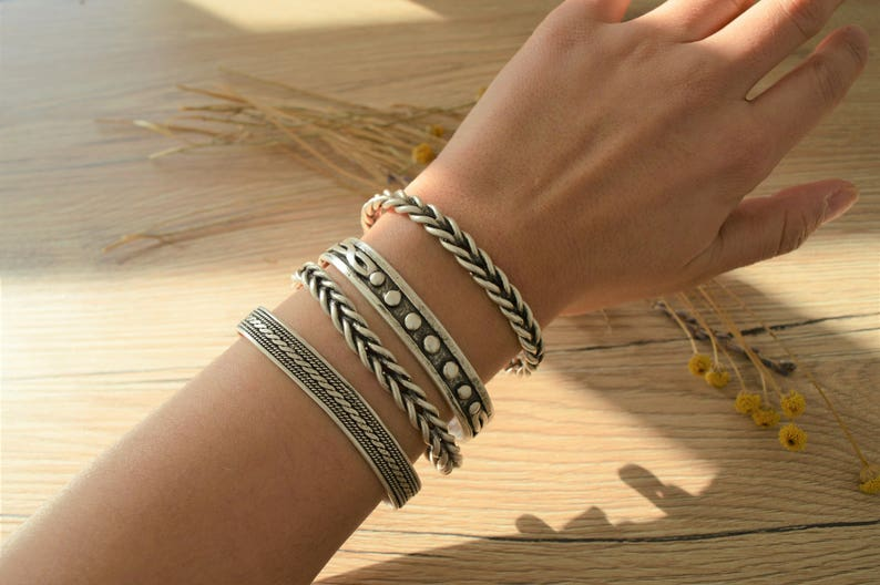 Bohemian Antique silver BRAIDED bangle cuff stacking bracelet image 1