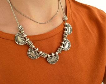 Antique Silver Ethiopian Telsum Amulet Necklace, Bohemian BohoChic Bib Statement Ethnic Tribal Jewelry, Banjara Indian Style Necklace