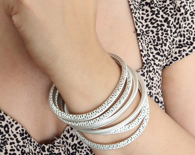 Bohemian Silver flat OVAL ENGRAVED bangle cuff, layering stacking modern minimalist Arm Party Free People Style Jewellery, gift for her