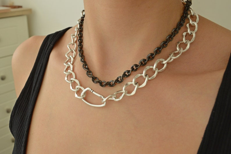 Thick Chain Necklace Punk Rock BikerStyle jewelry Black Gunmetal Thick Twine Chunky chain choker Cool gift for her Trace chain necklace