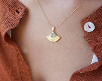 Gold SUN RAYS necklace wt Bue Grey Enamel, 24k gold plated stacking Celestial pendant, layered bohemian dainty delicate ethnic necklace