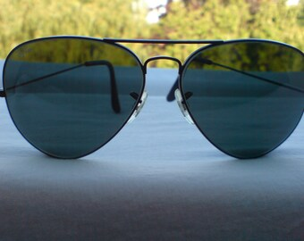ea361f4fe4 Vintage Ray-Ban L2821 62  14 Black Chrome Aviator Sunglasses Unisex New