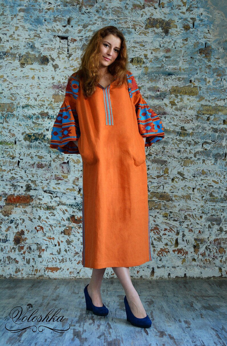 Boho embroidered dress Linen tunic plus size Mexican   Etsy