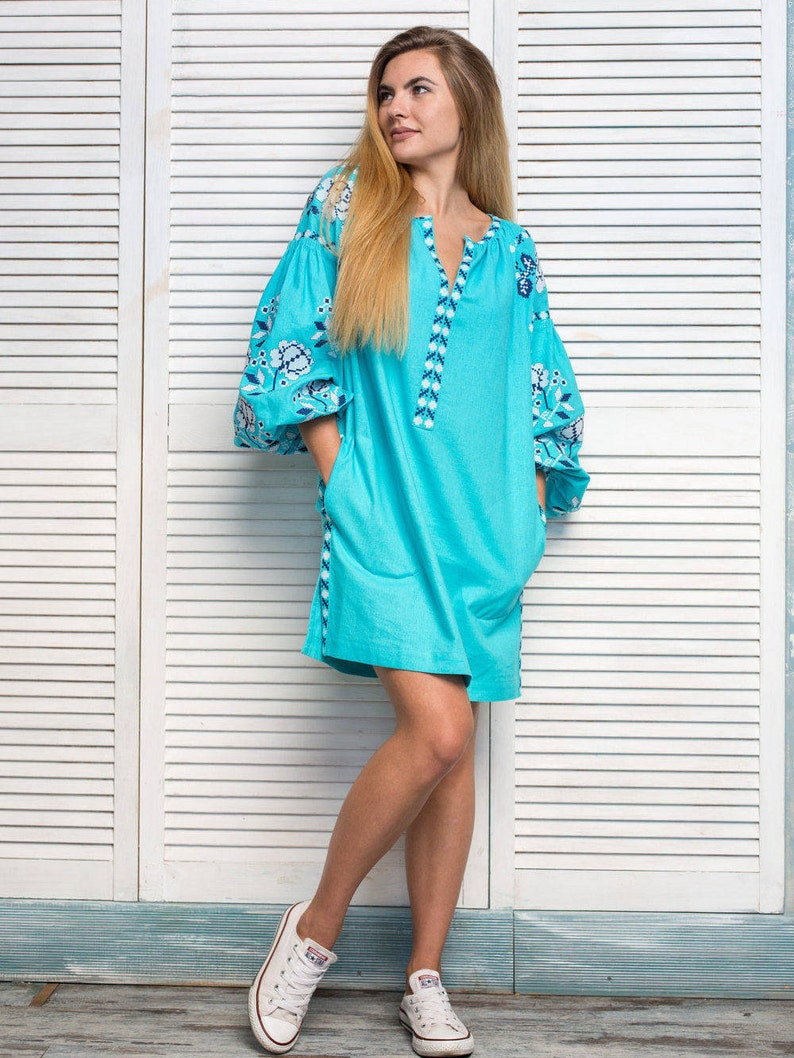 5cb071f9947b Turquoise Linen Embroidered Dress with White Roses. Turquoise