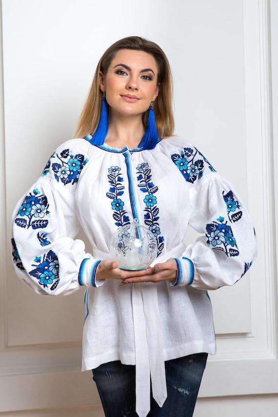 Bohemian embroidered Blouse  Ukrainian boho present gift Vyshysvanka