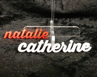 Alternative acrylic wedding table place card / seating names
