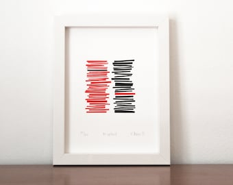 Misplaced,  screen print, modern print, red and black,  limited edition silkscreen print