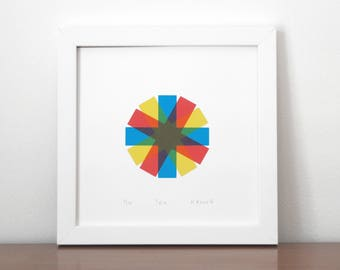 Spin, limited edition screen print, red, blue and yellow, crosses, stars, modern silkscreen print