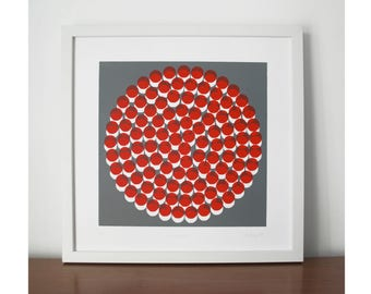 Roundabout, screen print, abstract screen print, red and grey, modern,  limited edition, silkscreen print