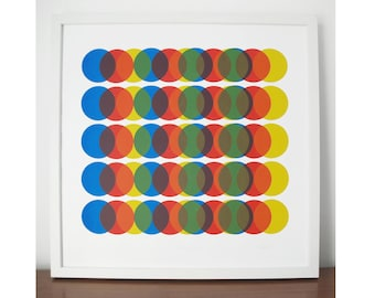 Primary Moves, screen print, geometric silkscreen print, abstract print, circles, mid century modern style art, colourful fine art print