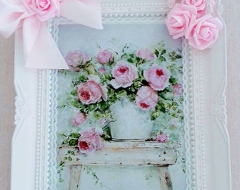 Vintage shabby chic and romantic pink frame