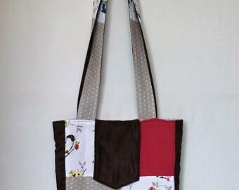 Patchwork Shoulder Bag - Pink and Brown, Birds