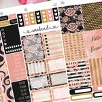Blush and Gold Planner Sticker Kit for use with Erin Condren LifePlanner™ Weekly Kit, Vertical Planner, Pink, Black, Gold, Floral