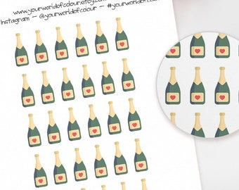 Champagne Planner Stickers, For Erin Condren, Happy Planner, schedule, Plum Paper, Filofax, TN and more!  Celebrate Wedding Party Toast