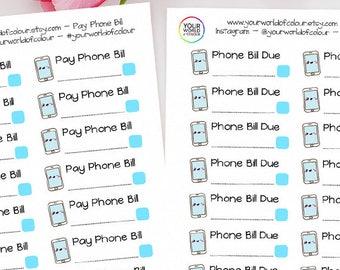 Phone Bill Reminder Planner Stickers for Erin Condren Life Planner, Kikki K, Happy Planner, Filofax Planner, Budget, Money