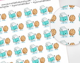 Milk and Cookies Planner Stickers, Erin Condren, Happy Planner, Life Planner, Kikki K, Filofax Planner, TN, Kawaii, Characters, Food, Yummy