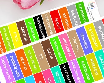 Sarcastic Quotes Planner Stickers, For Erin Condren, Happy Planner, Schedule, Plum Paper, Filofax, TN and more!  Adulting Adult Stickers