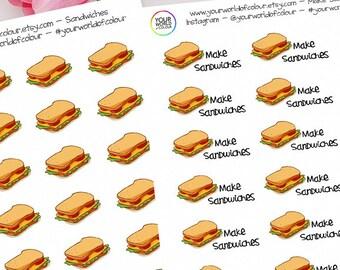 Sandwich Planner Stickers, Erin Condren, Happy Planner, Life Planner, Kikki K, Filofax Planner, TN, Make Sandwiches, Lunch, Pack up, Dinners