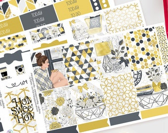 Home Sweet Home | Planner Sticker Kit for Erin Condren | Weekly Kit, Vertical Planner, Checked, Grey, Yellow, Style, Fashion, House, Living