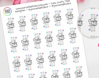Crafty Time Copic Planner Stickers, For Erin Condren, Happy Planner, Schedule, Plum Paper, Filofax, TN and more!  Colouring Craft Copics