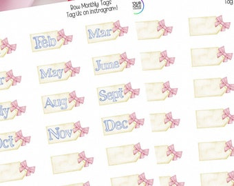 Bow Month Tag Planner Stickers for use with Erin Condren Life Planner, Kikki K, Happy Planner, Schedule, bujo and more! Bow Tags