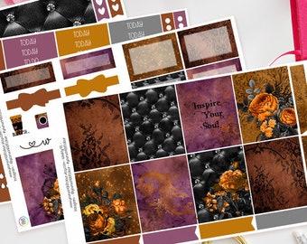 Inspire Your Soul | Planner Sticker Kit for Erin Condren | Weekly Kit, Vertical Planner, Autumn, Orange, Floral, Black, Lace, Flowers