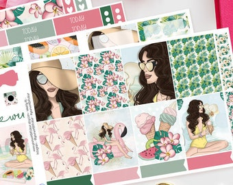 Aloha   Planner Sticker Kit for Erin Condren   Weekly Kit, Vertical Planner, Summer, Famingo's, Ice Cream, Girly, Pink, Fruit, Floral