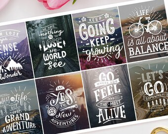 Inspirational Positivity Quotes Full Box Planner Stickers - Erin Condren, Kikki K, Filofax, Happy Planner, Nature, sayings, Motivation 2
