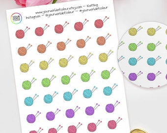 Knitting Planner Stickers, For Erin Condren, Happy Planner, crafts, Plum Paper, Filofax, TN and more, Crafts, Sewing, Knit, Wool