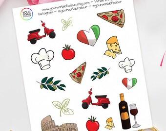 When In Rome Planner Stickers, For Erin Condren, Happy Planner, schedule, Plum Paper, Filofax, TN etc!   Italy, Italian, Food, Holiday