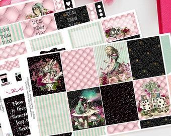 Wonderland | Planner Sticker Kit for Erin Condren, Recollections | Weekly Kit, Vertical Planner, Alice, TN, Pink, Cat, Rabbit, Black